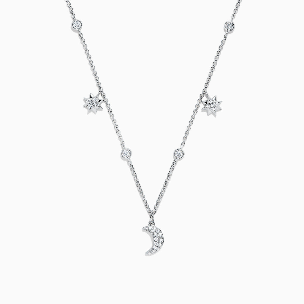 Effy Pave Classica 14K White Gold Diamond Moon and Stars Necklace, 0.38 TCW