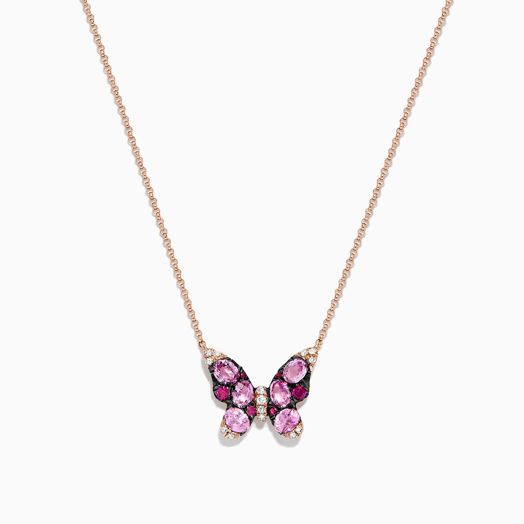 Effy Nature 14K Rose Gold Ruby, Pink Sapphire & Diamond  Butterfly Necklace, 1.57 TCW