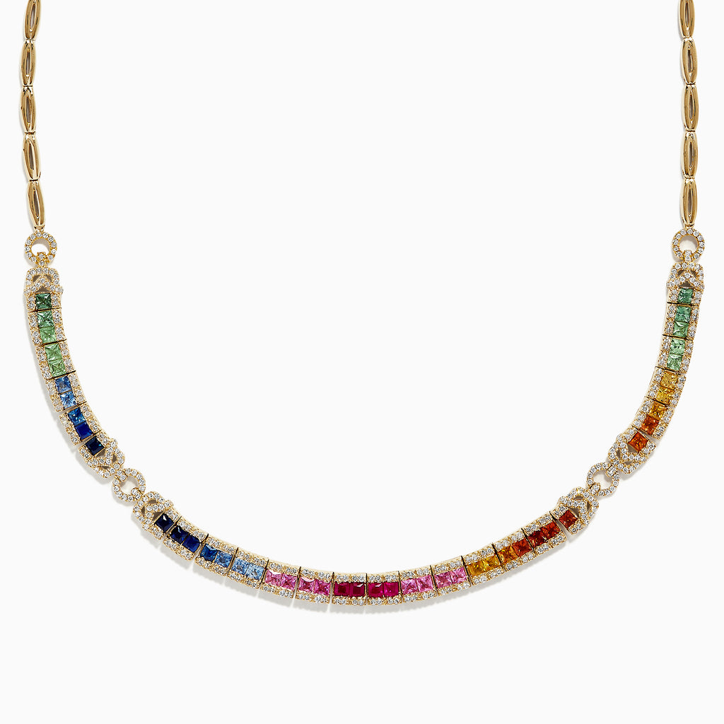 Effy Watercolors 14K Gold Multi Sapphire and Diamond Necklace, 7.19 TCW