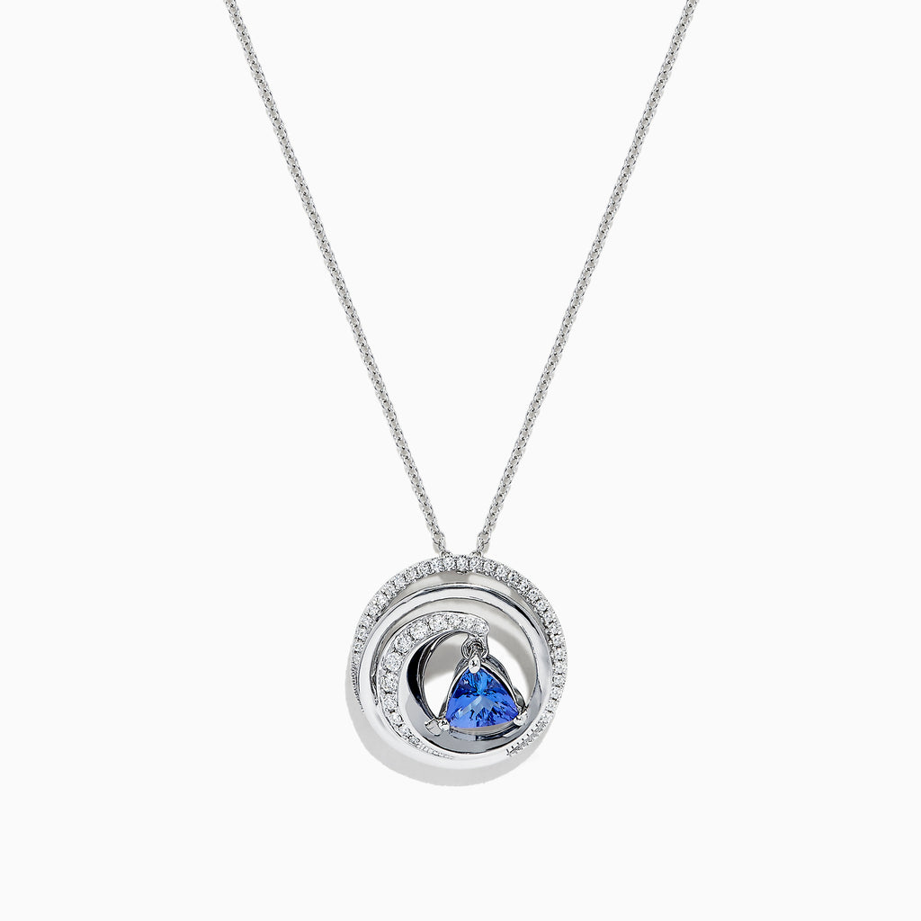 Effy Tanzanite Royale 14K Gold Tanzanite & Diamond Swirl Pendant, 0.89 TCW