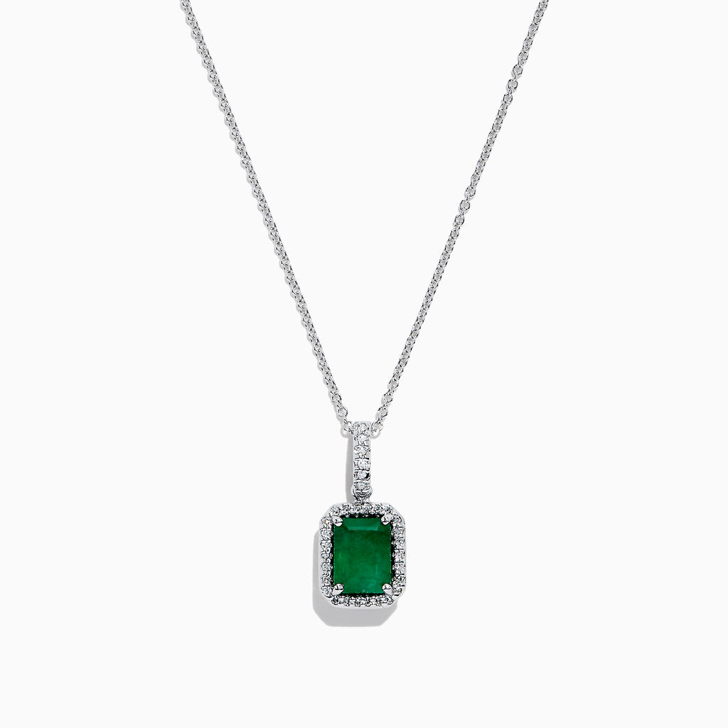 Effy Brasilica 14K White Gold Emerald and Diamond Pendant, 1.55 TCW