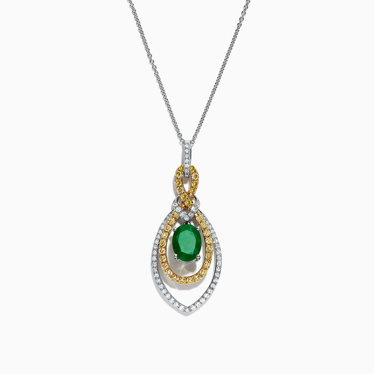 Effy 14K Two Tone Gold Emerald and Diamond Pendant, 1.73 TCW