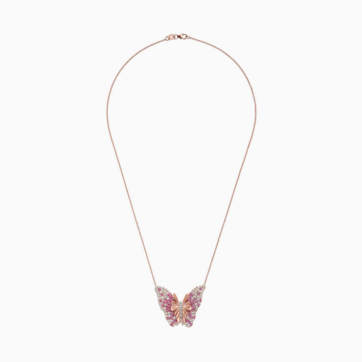 Effy Nature 14K Rose Gold Pink Sapphire & Diamond Butterfly Pendant, 3.32 TCW