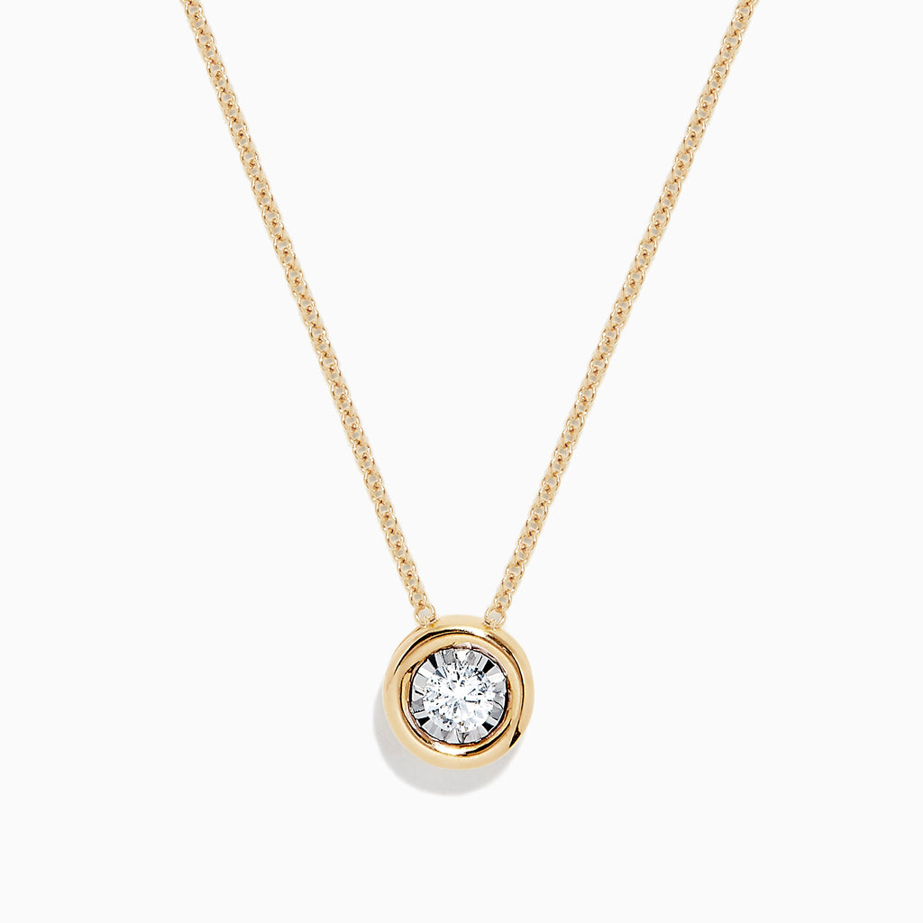 Effy D'Oro 14K Yellow Gold Bezel Set Diamond Pendant, 0.20 TCW