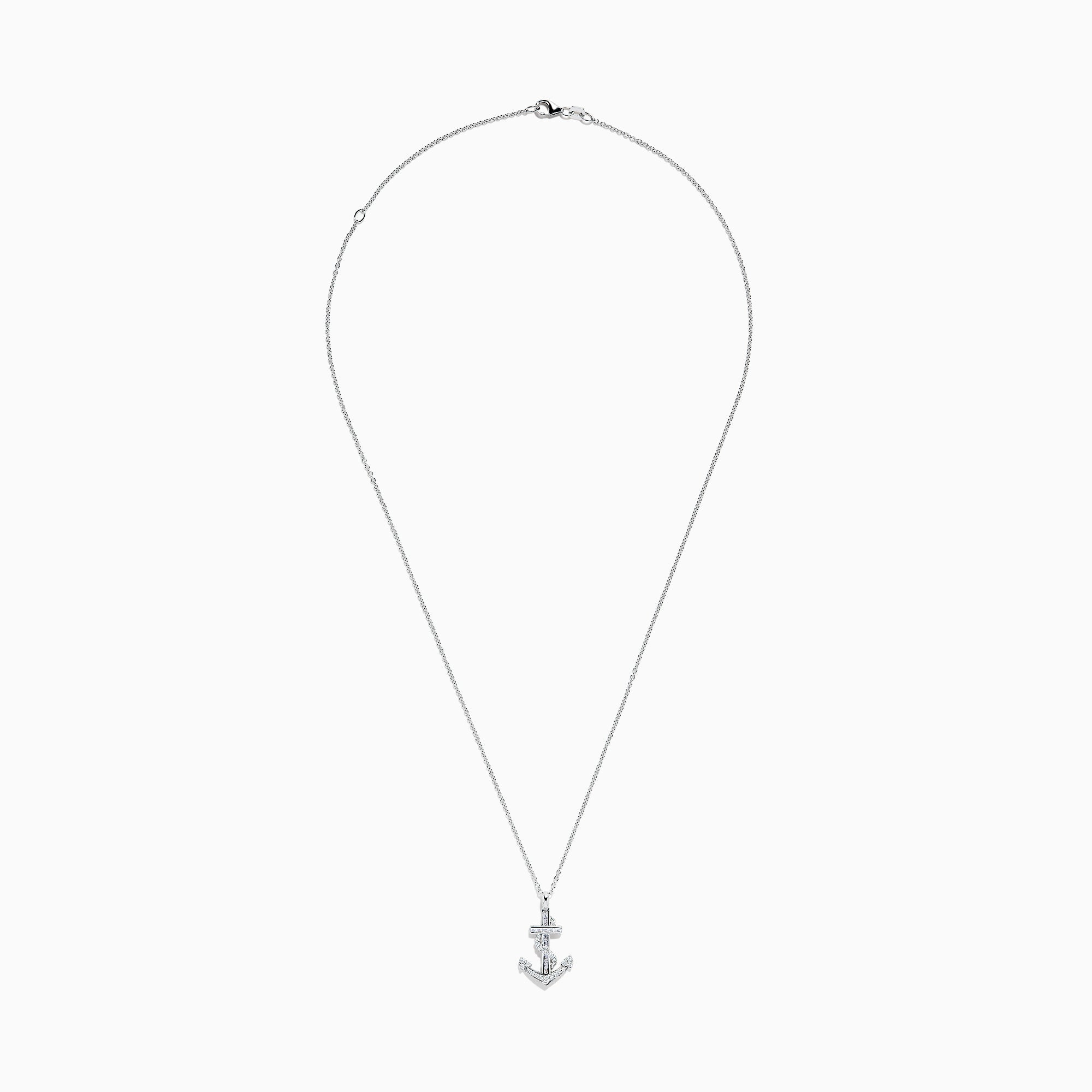 Effy Seaside 14K White Gold Diamond Anchor Pendant, 0.26 TCW