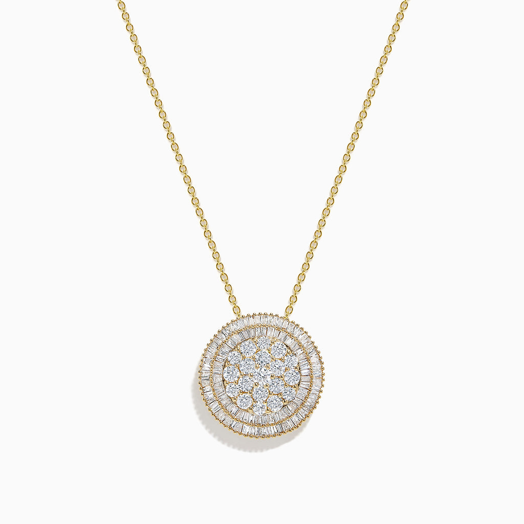 Effy D'Oro 14K Yellow Gold Diamond Disk Pendant, 1.60 TCW