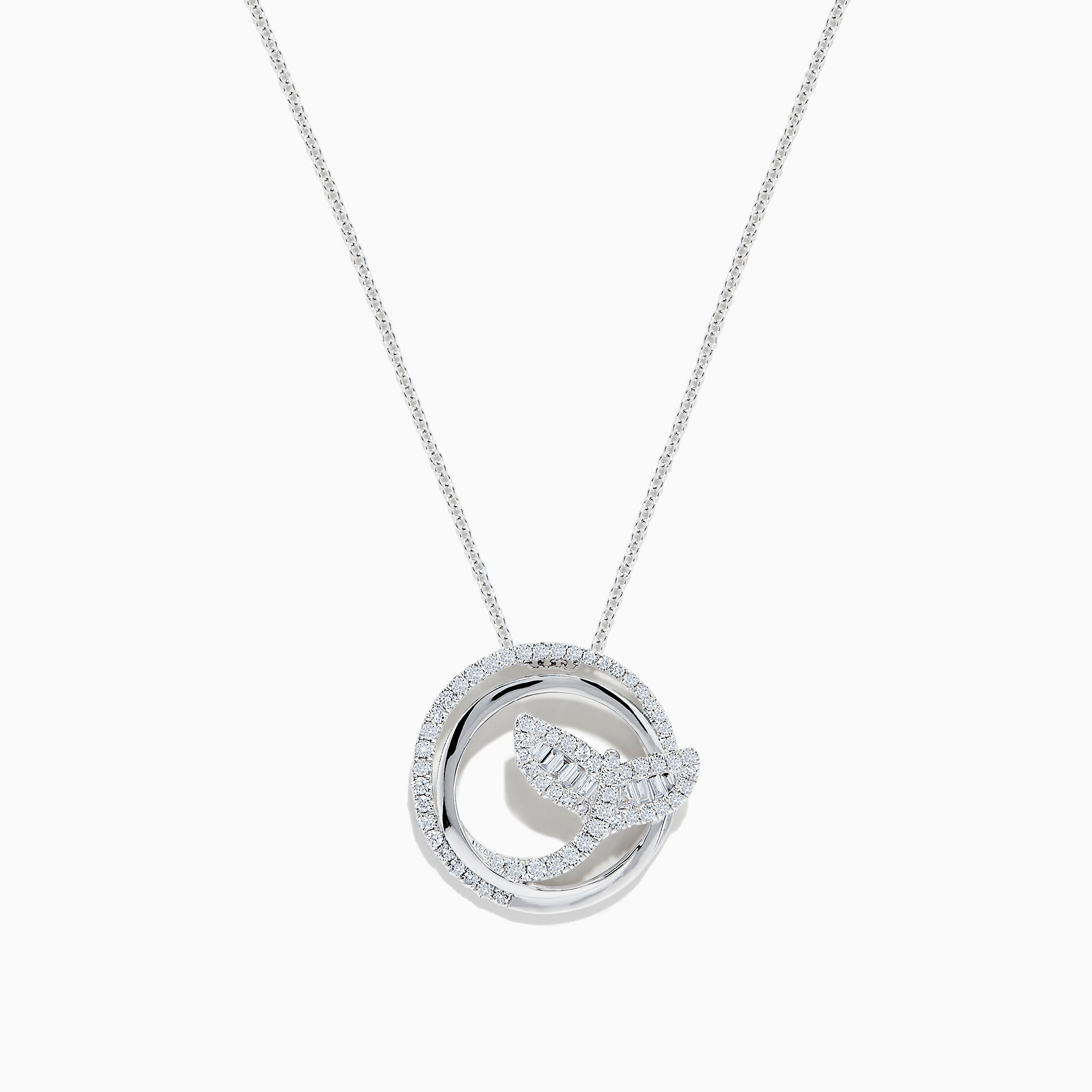 Effy Seaside 14K White Gold Diamond Whale's Tail Pendant, 0.49 TCW