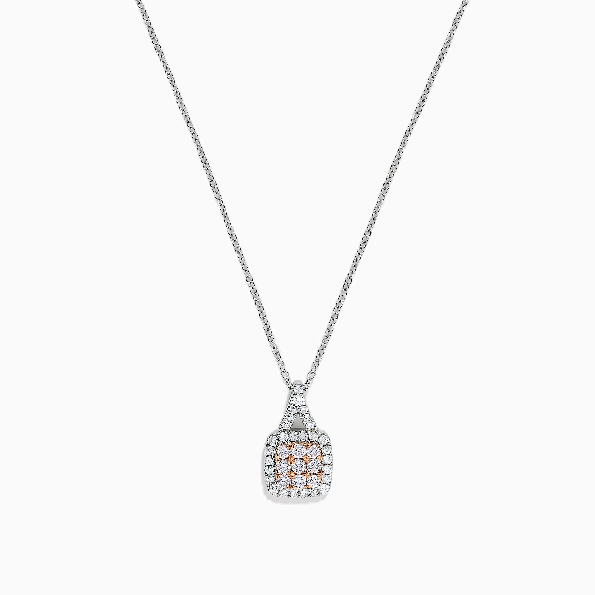 Effy 14K White Gold Pink and White Diamond Pendant, 0.48 TCW