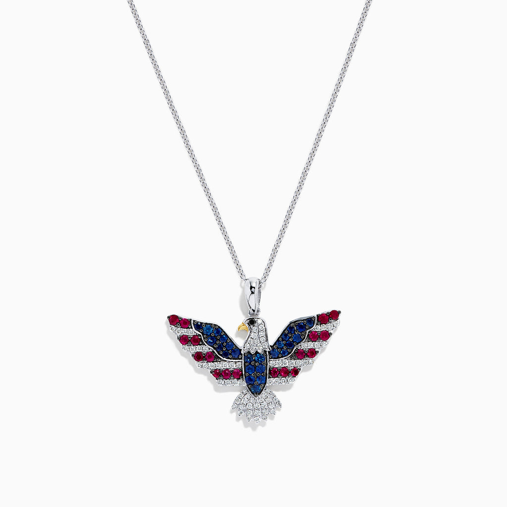 Effy Novelty 14K Gold Ruby, Sapphire and Diamond Eagle Pendant, 1.02 TCW