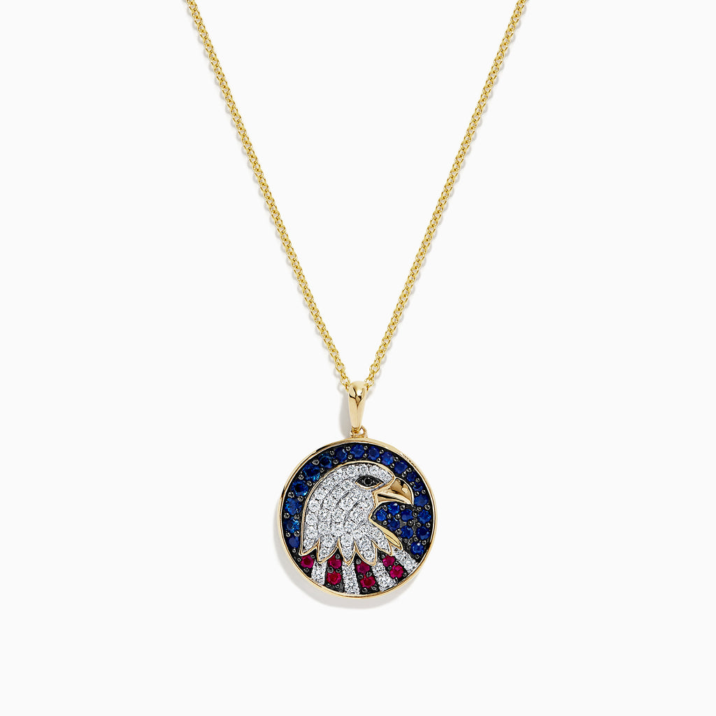 Effy Novelty 14K Gold Ruby, Sapphire & Diamond Eagle Head Pendant, 1.06 TCW