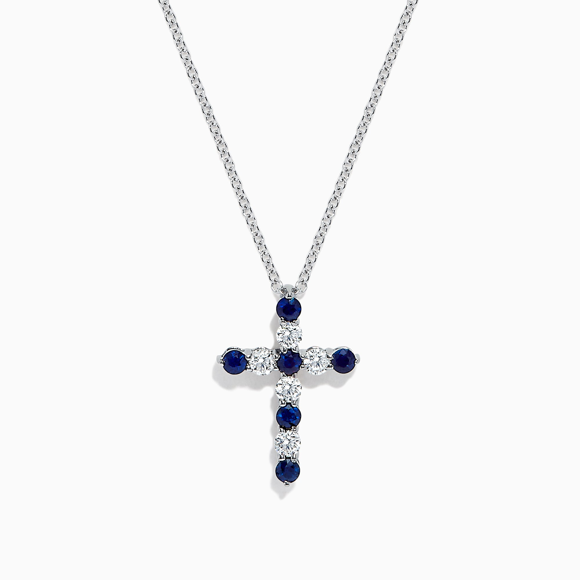 Effy Royale Bleu 14K Gold Sapphire and Diamond Cross Pendant, 0.56 TCW