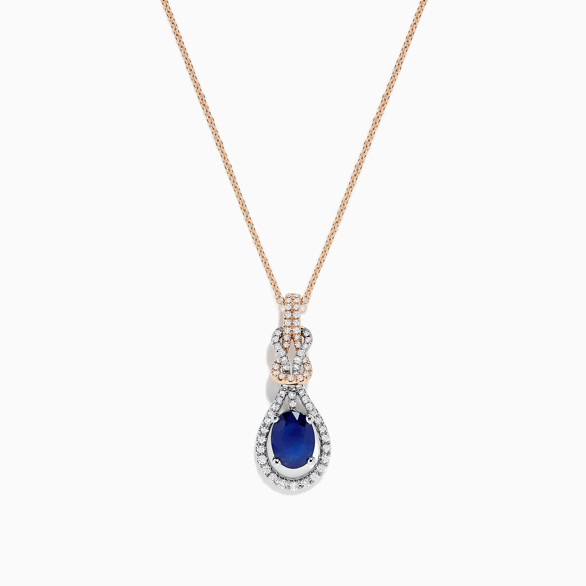 Effy 14K Two Tone Gold Sapphire and Diamond Pendant, 1.66 TCW