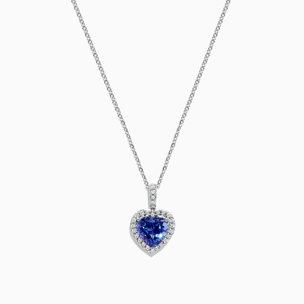 Effy Tanzanite Royale 14K White Gold Tanzanite and Diamond Heart Pendant, 2.32 TCW