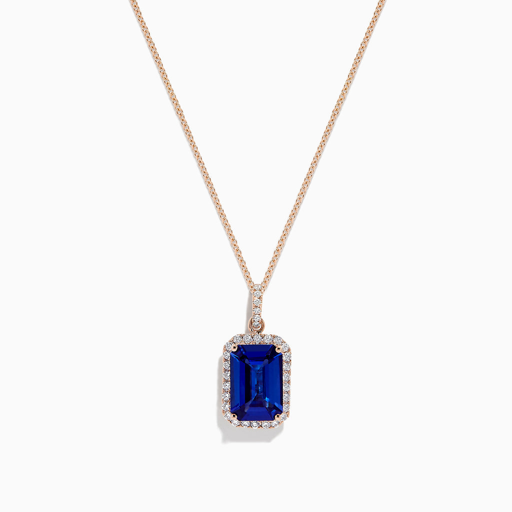 Effy Tanzanite Royale 14K Rose Gold Tanznaite and Diamond Pendant, 5.59 TCW