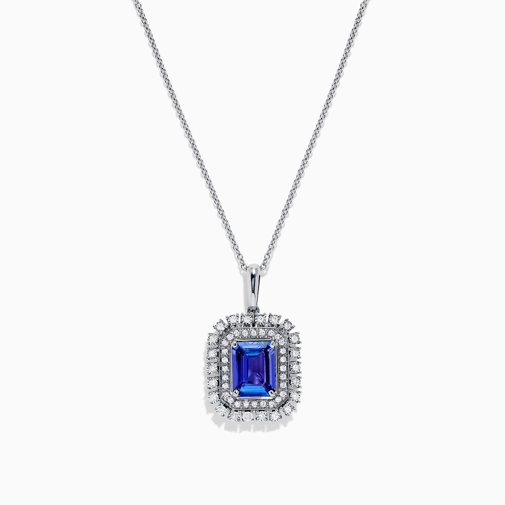 Effy Tanzanite Royale 14K White Gold Tanzanite & Diamond Pendant, 2.29 TCW