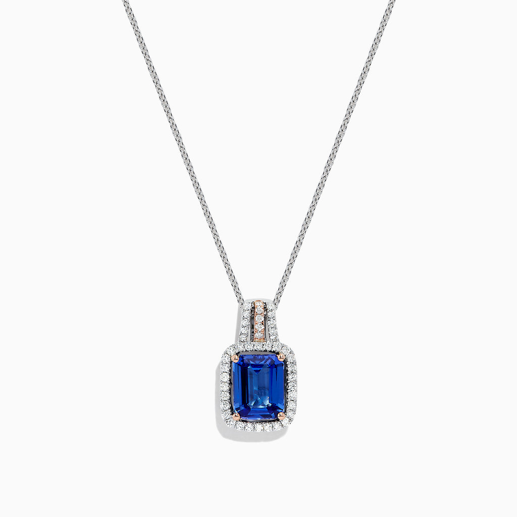 Effy 14K Two Tone Gold Tanzanite and Diamond Pendant, 2.37 TCW