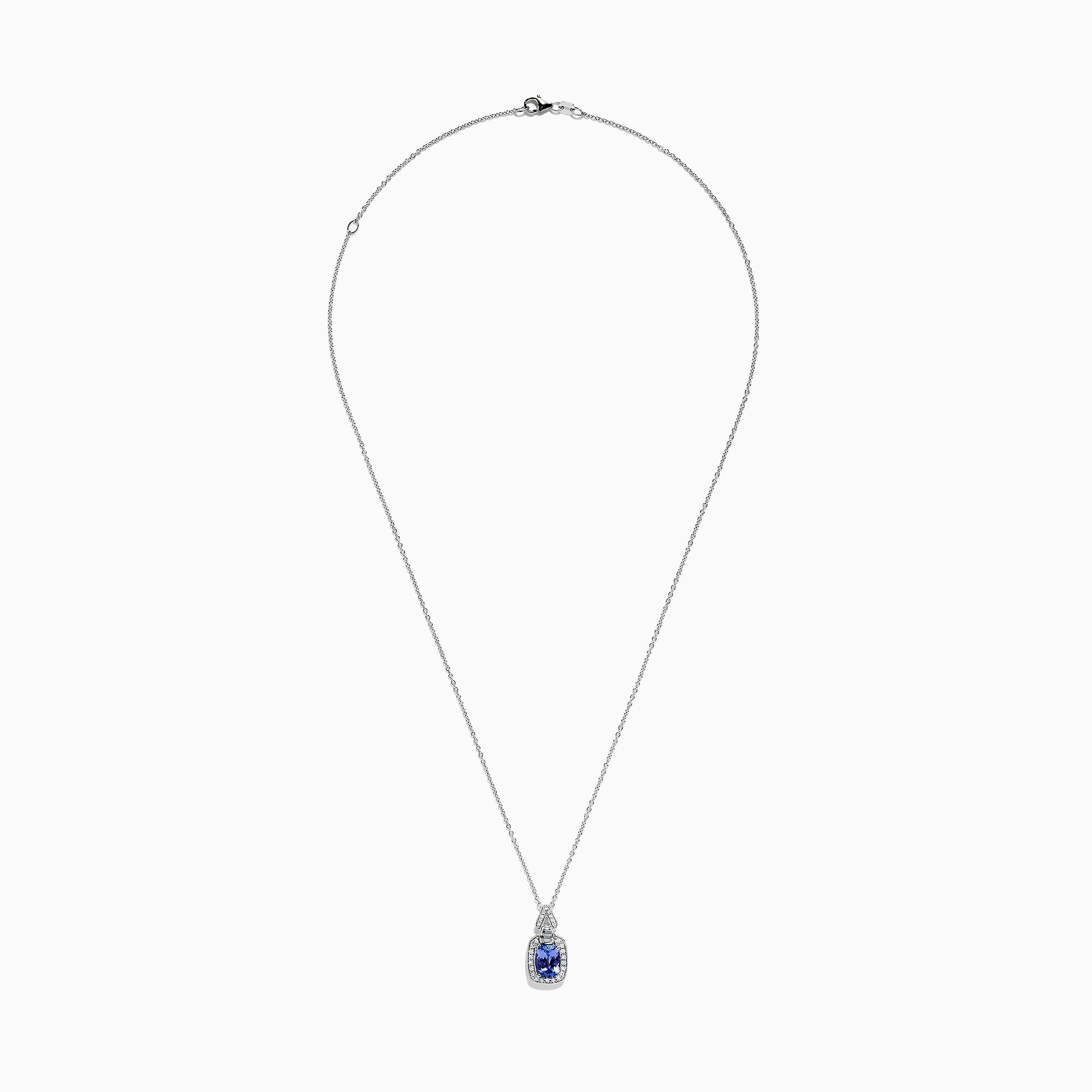 Effy 14K White Gold Tanzanite and Diamond Pendant, 1.63 TCW