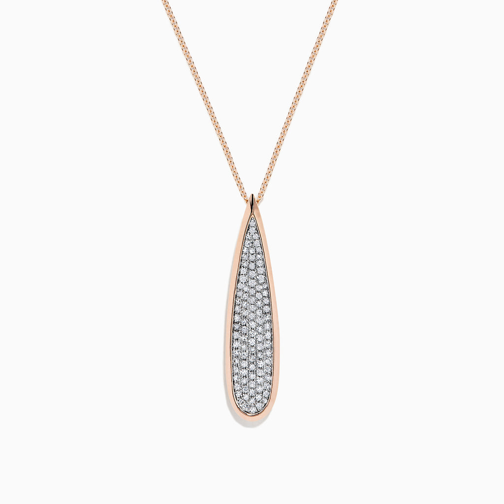 Effy Pave Rose 14K Rose Gold Diamond Drop Pendant, 0.45 TCW