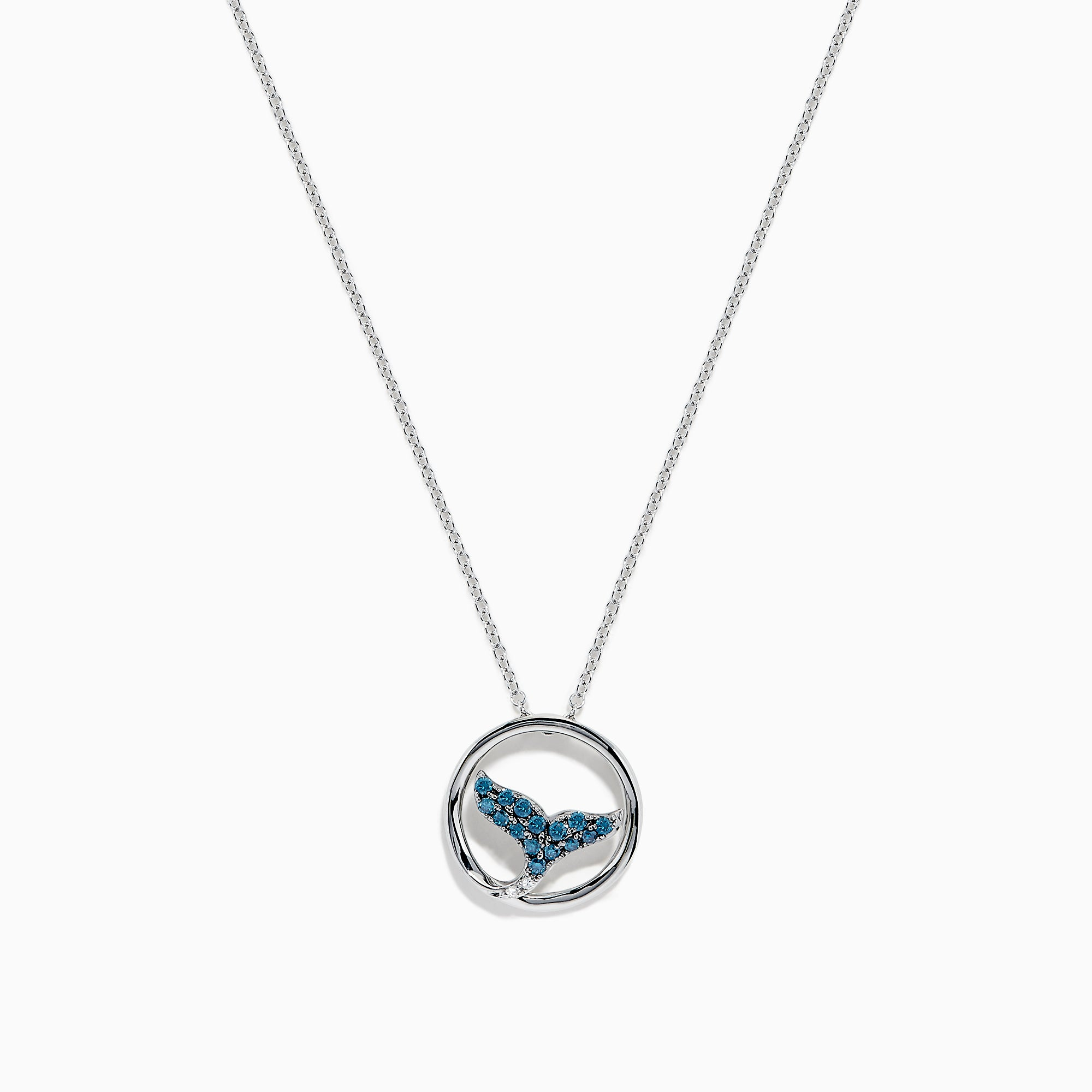 Effy 14K White Gold Blue and White Diamond Whale's Tail Pendant, 0.17 TCW