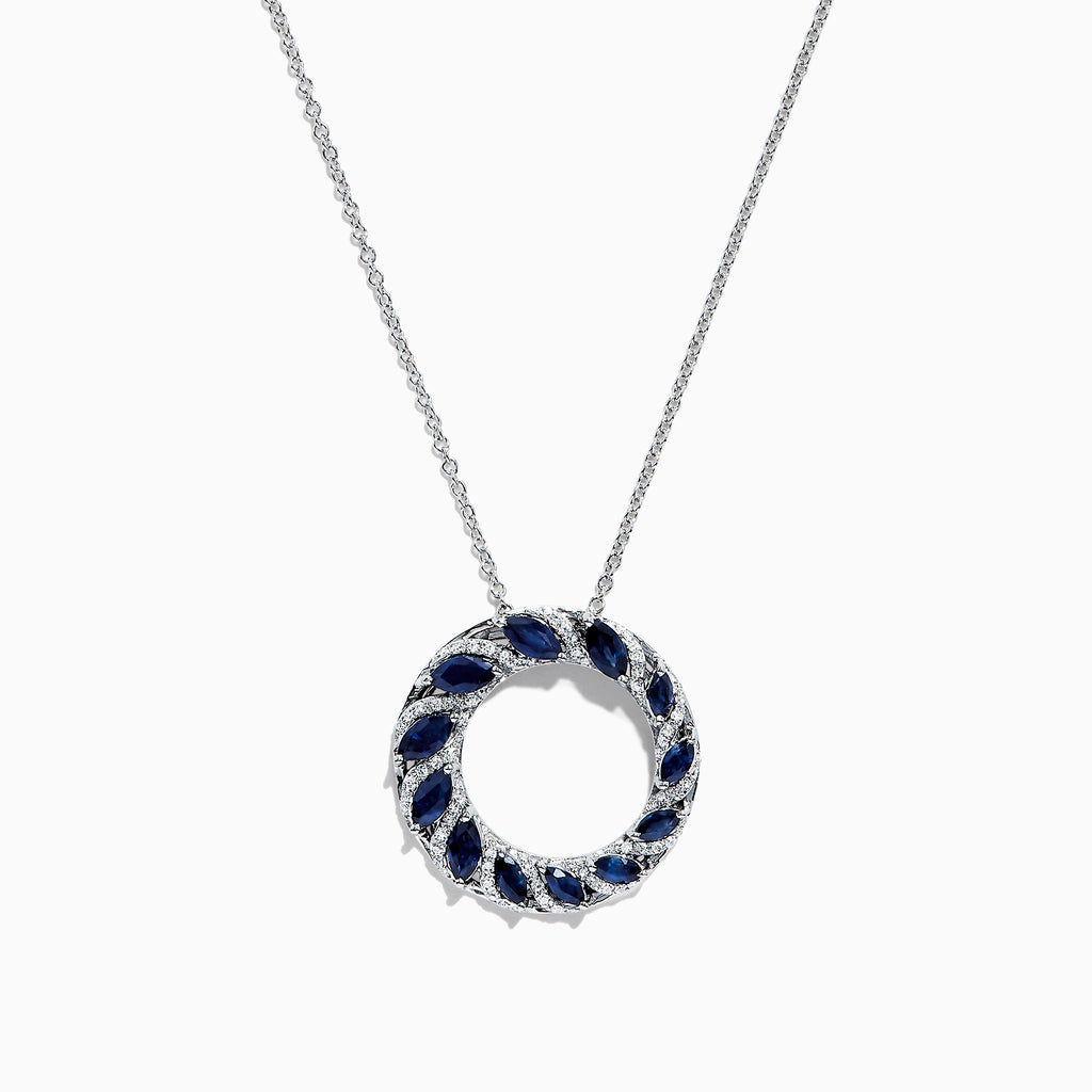 Effy Royale Bleu 14K White Gold Sapphire and Diamond Pendant, 2.14 TCW