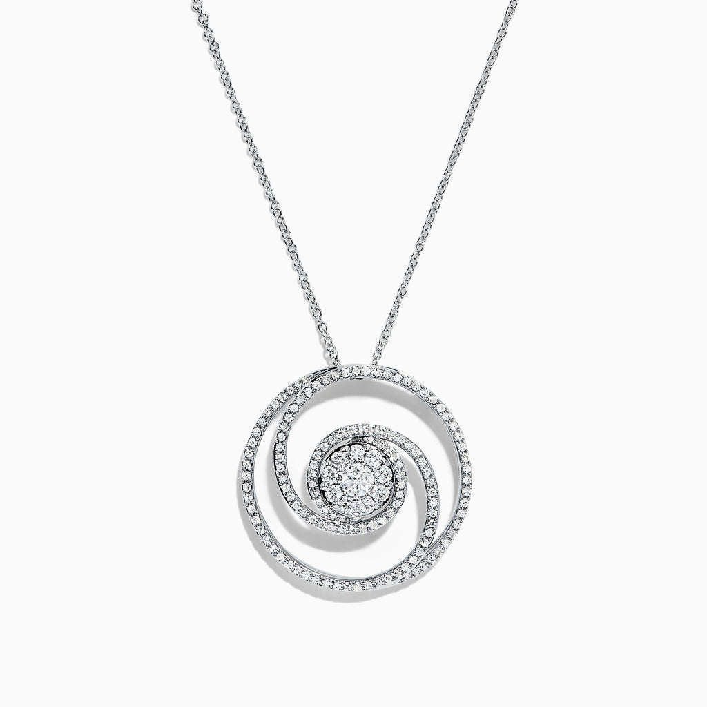 Effy Bouquet 14K White Gold Diamond Swirl Pendant, 0.93 TCW