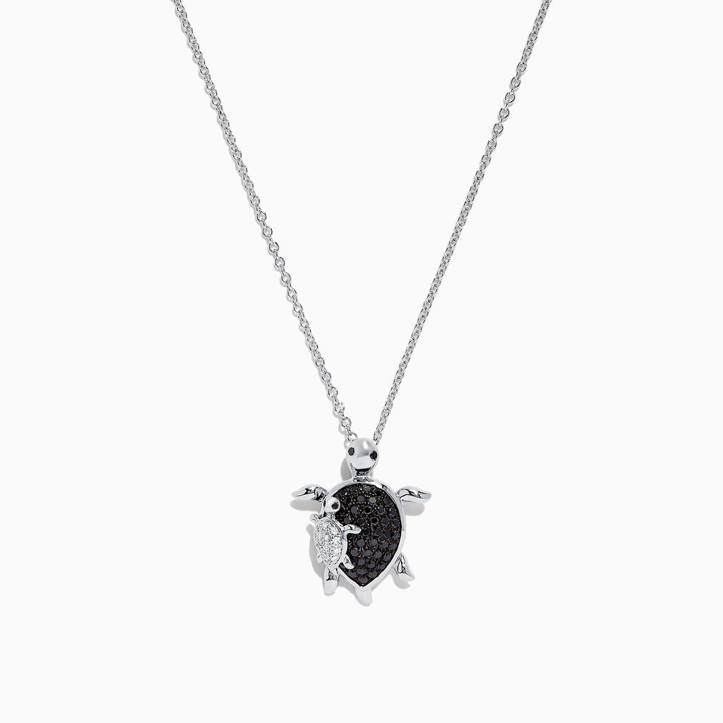 Effy Safari Sterling Silver Black and White Diamond Turtle Pendant, 0.32 TCW
