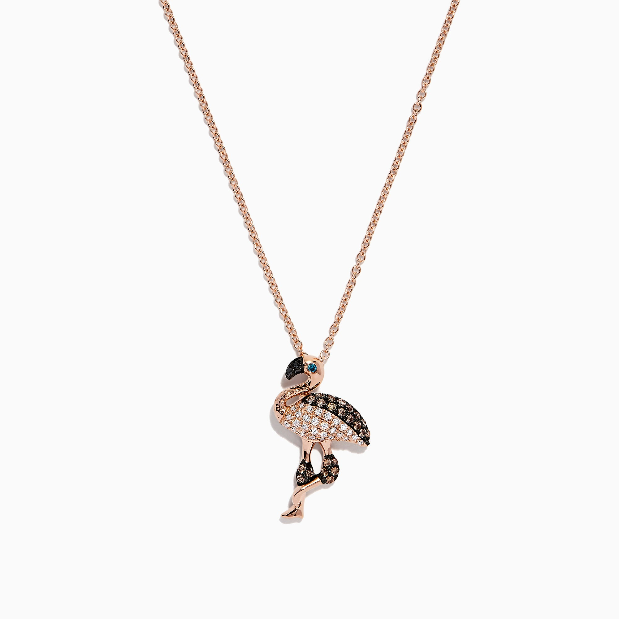 Effy Safari 14K Rose Gold Espresso, White and Blue Diamond Flamingo Pendant, 0.29 TCW