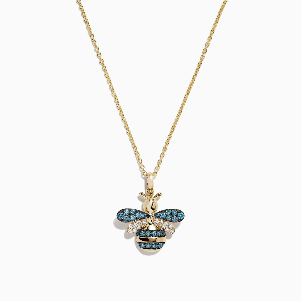 Effy Safari 14K Yellow Gold Blue and White Diamond Bee Pendant, 0.46 TCW