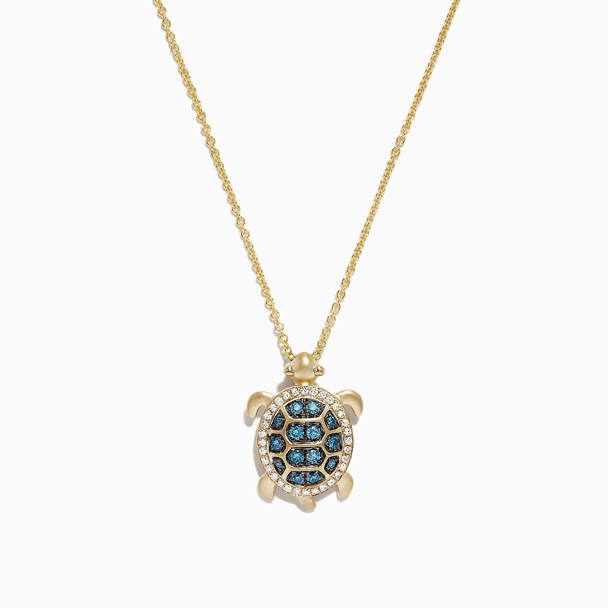 Effy 14K Yellow Gold Blue and White Diamond Sea Turtle Pendant, 0.41 TCW
