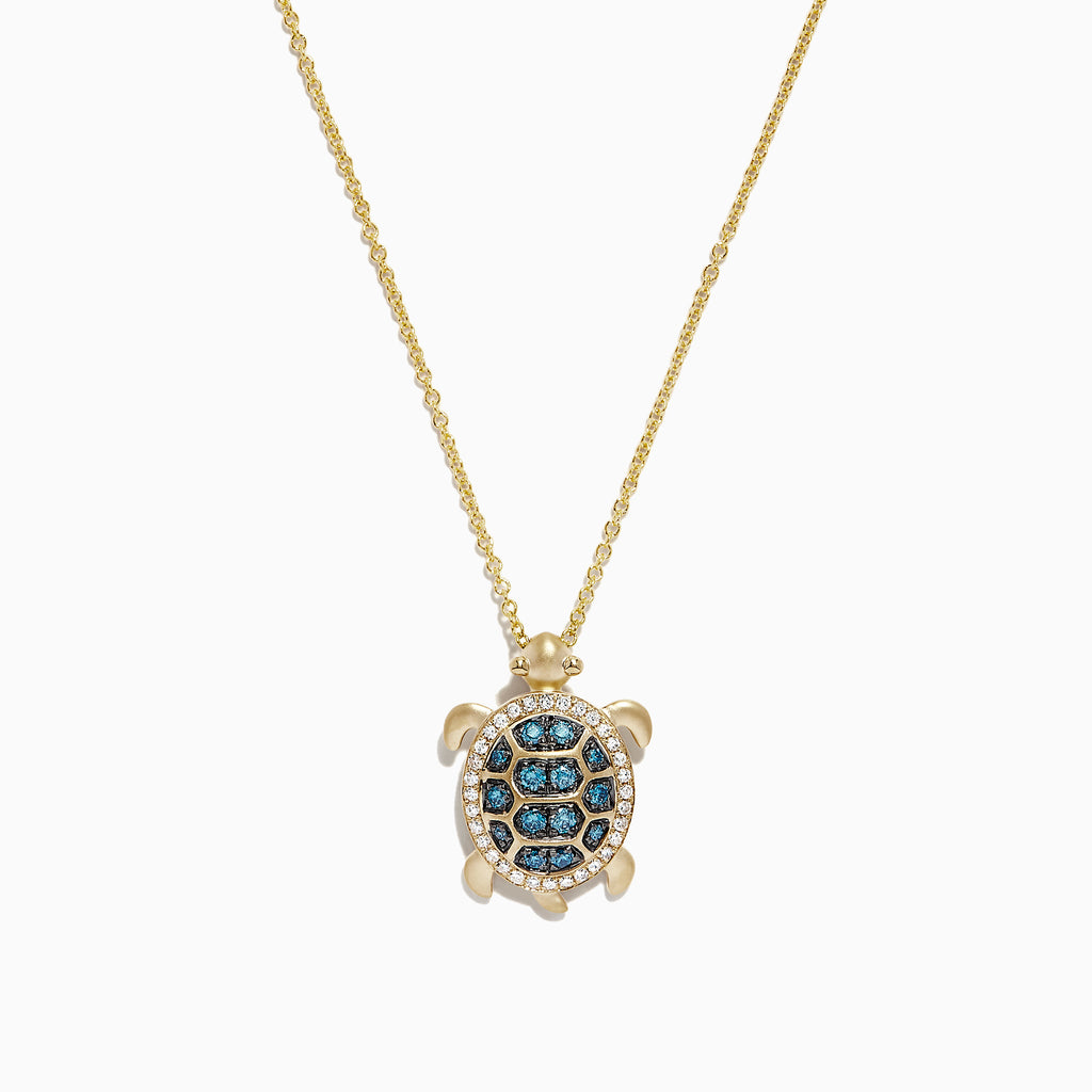 Effy Safari 14K Yellow Gold Blue and White Diamond Turtle Pendant, 0.41 TCW