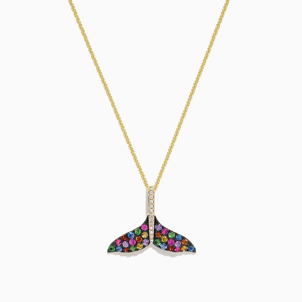 Effy Seaside 14K Gold Sapphire & Diamond Whale's Tail Pendant, 0.82 TCW