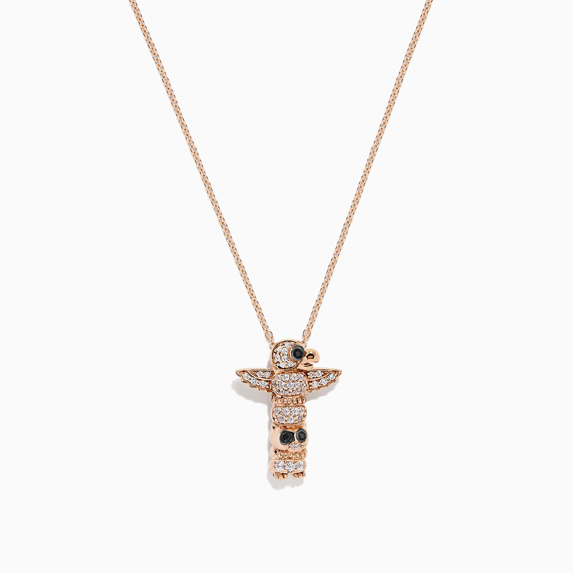 Effy Novelty 14K Gold Diamond and White Sapphire Totem Pendant, 0.28 TCW