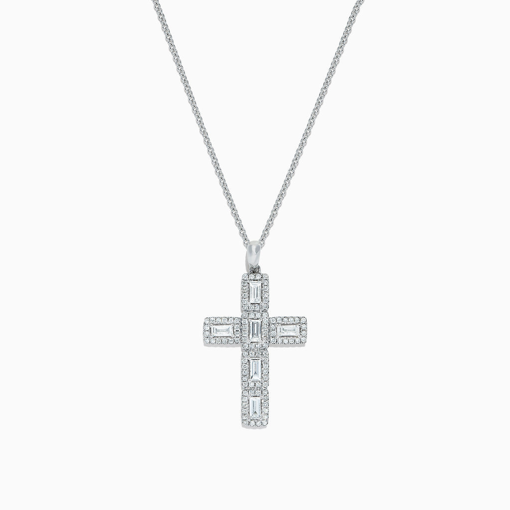 Effy Classique 14K White Gold Diamond Cross Pendant, 0.61 TCW