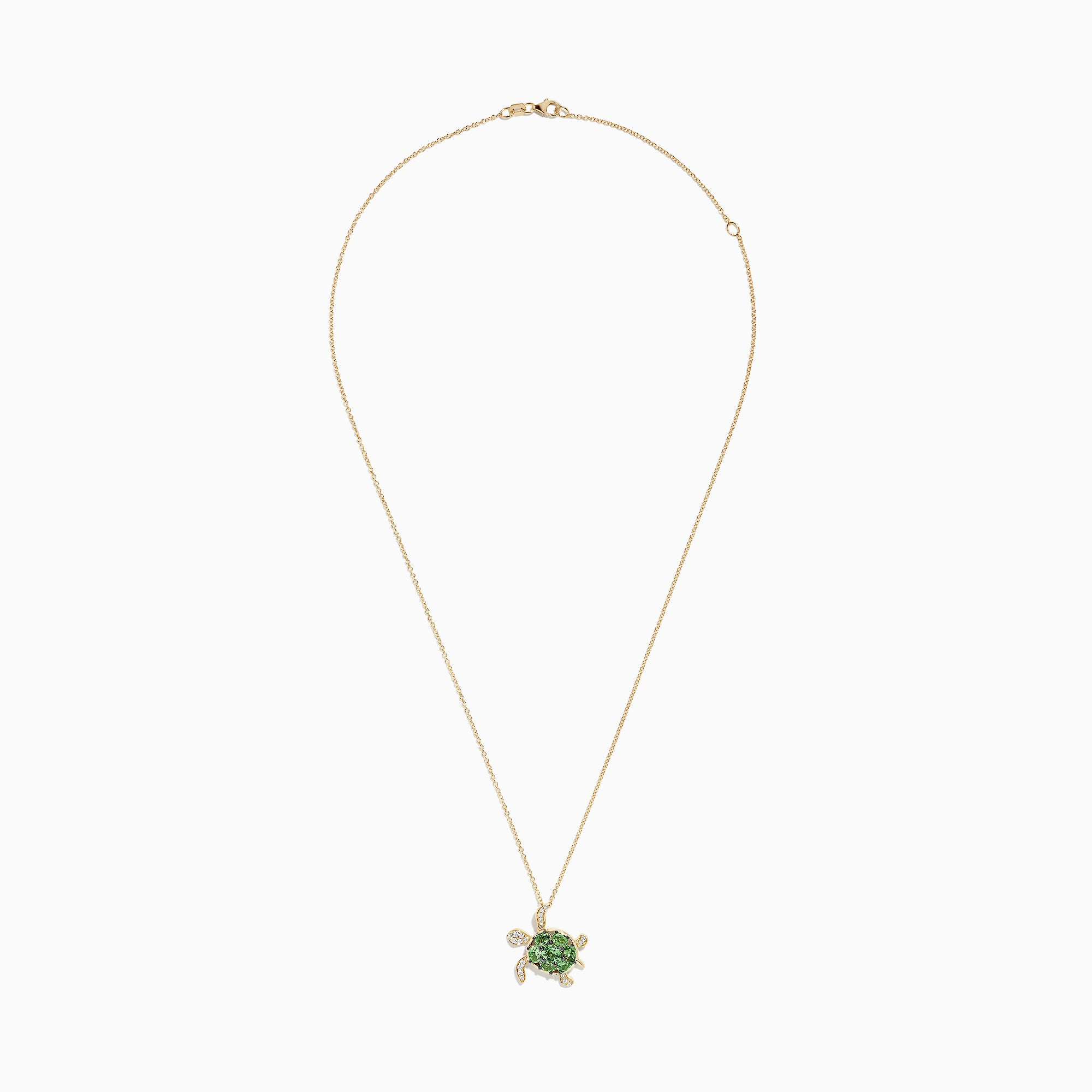 Effy Seaside 14K Yellow Gold Tsavorite & Diamond Turtle Pendant, 1.81 TCW