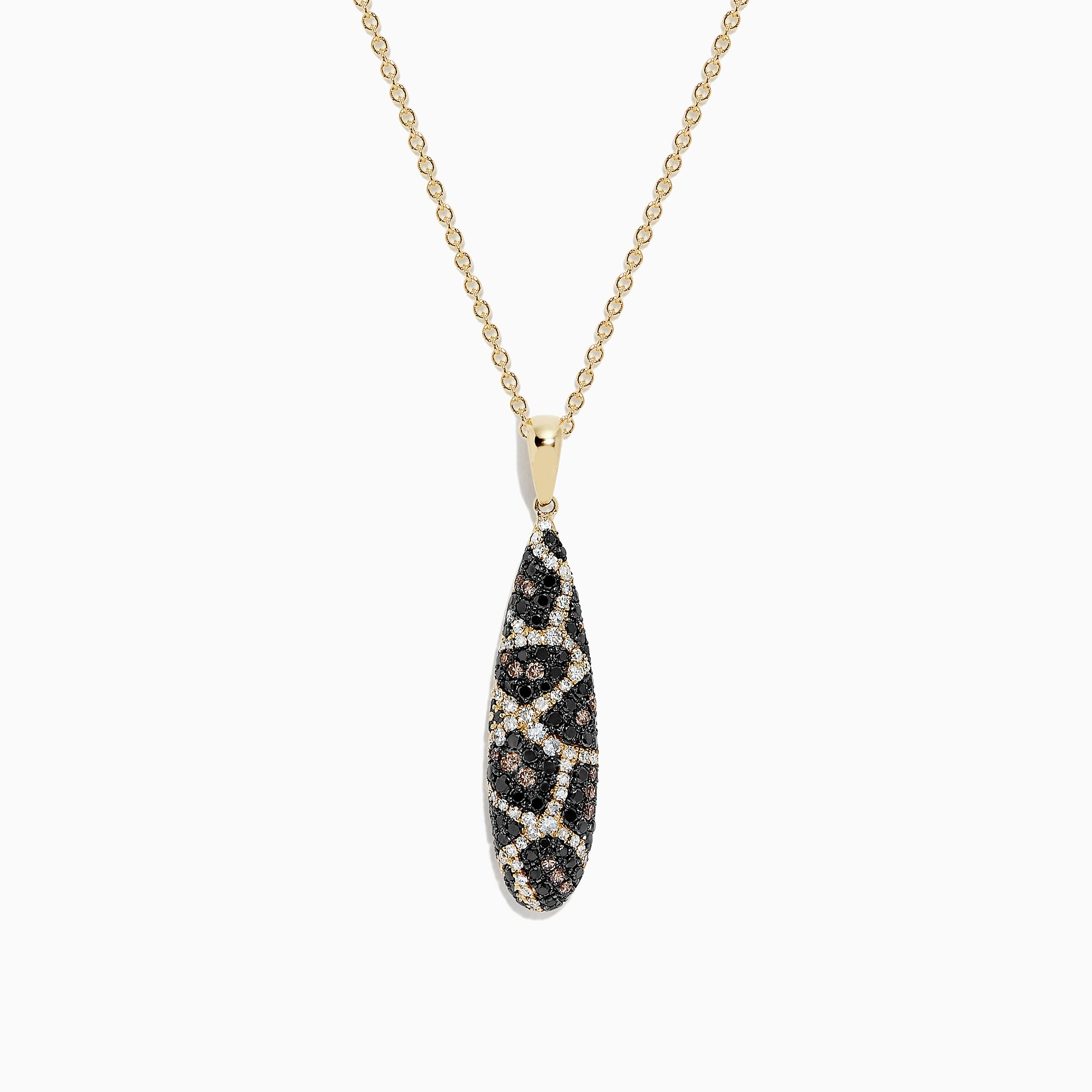 Effy 14K Yellow Gold Espresso, Black and White Diamond Pendant, 0.75 TCW