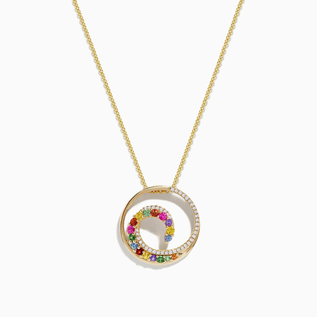 Effy Watercolors 14K Gold Multi Sapphire and Diamond Wave Pendant, 0.85 TCW