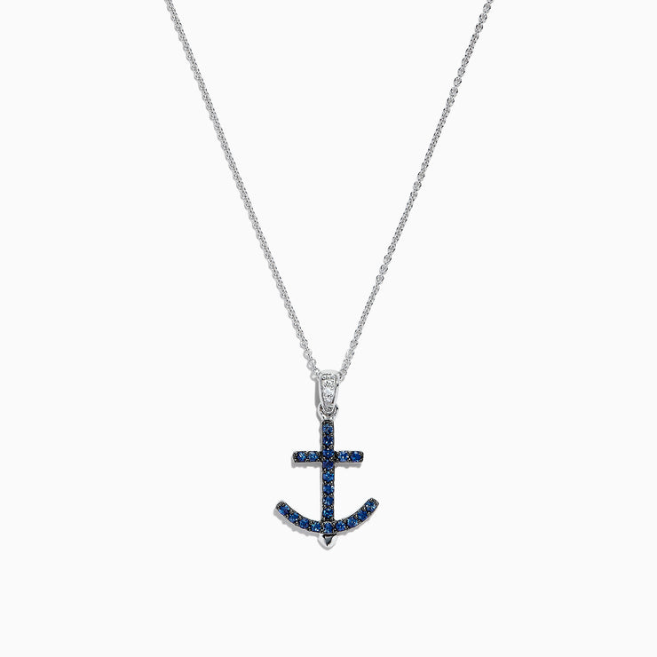 Effy Seaside 14K White Gold Blue Sapphire and Diamond Anchor Pendant, 0.23 TCW