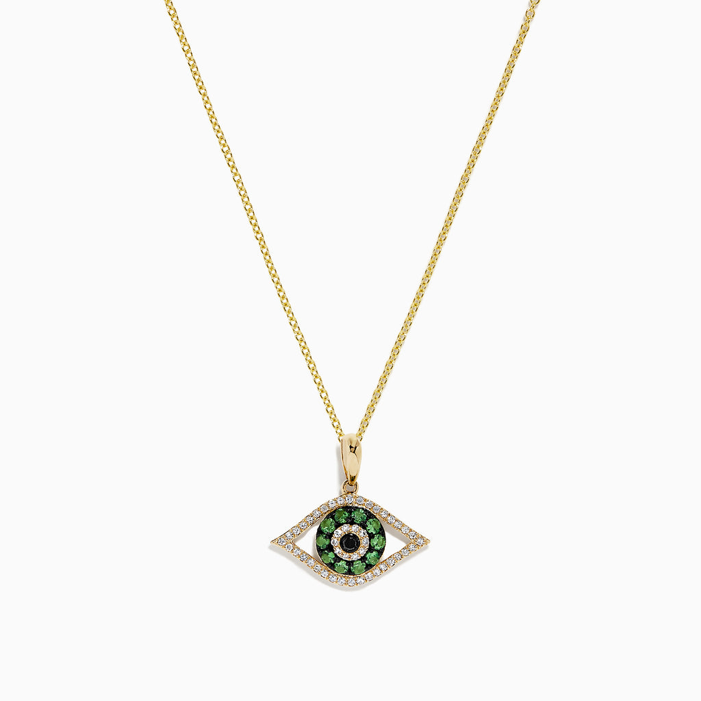 Effy Novelty 14K Gold Tsavorite and Diamond Evil Eye Pendant, 0.33 TCW