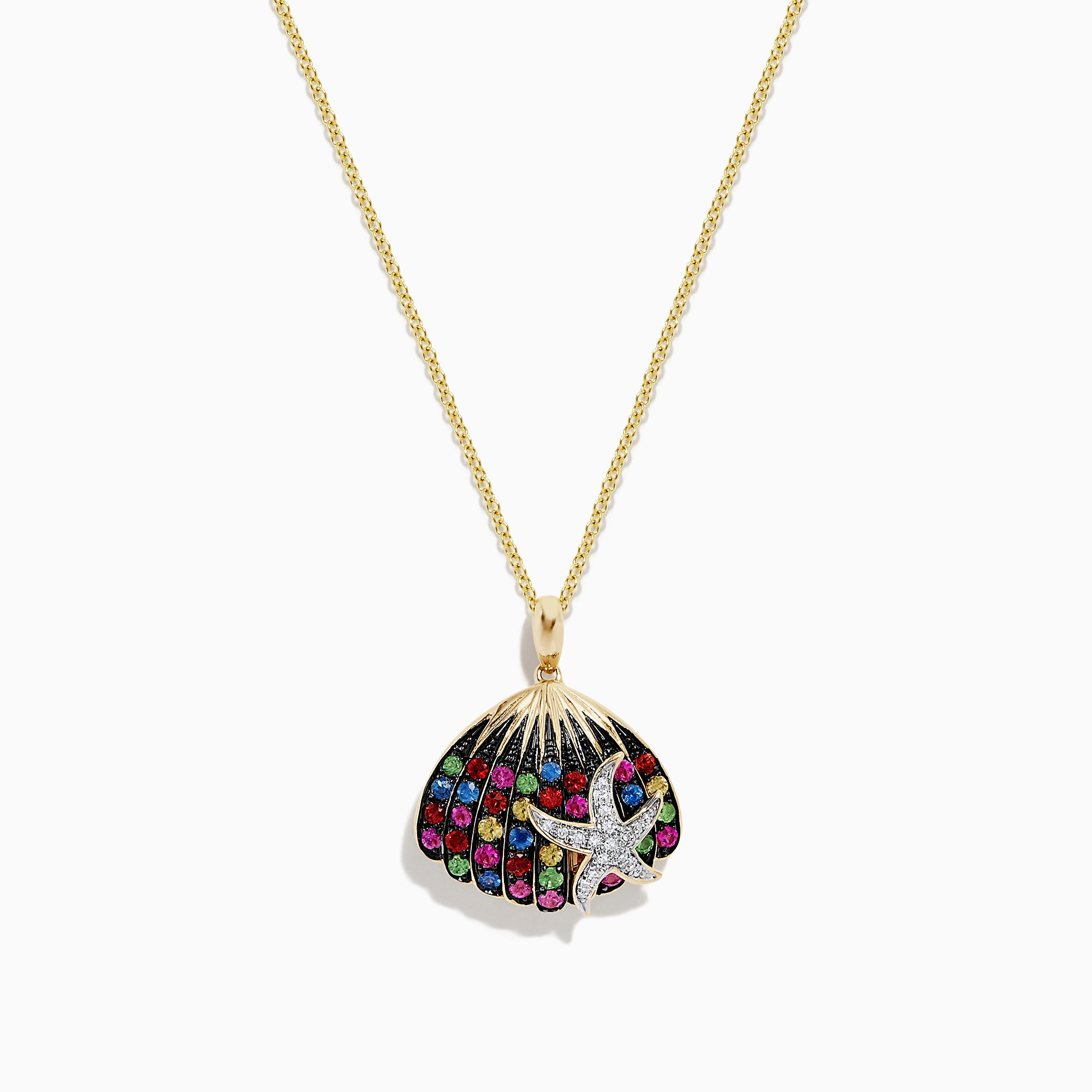 Effy Watercolors 14K Gold Sapphire and Diamond Seashell Pendant, 0.87 TW