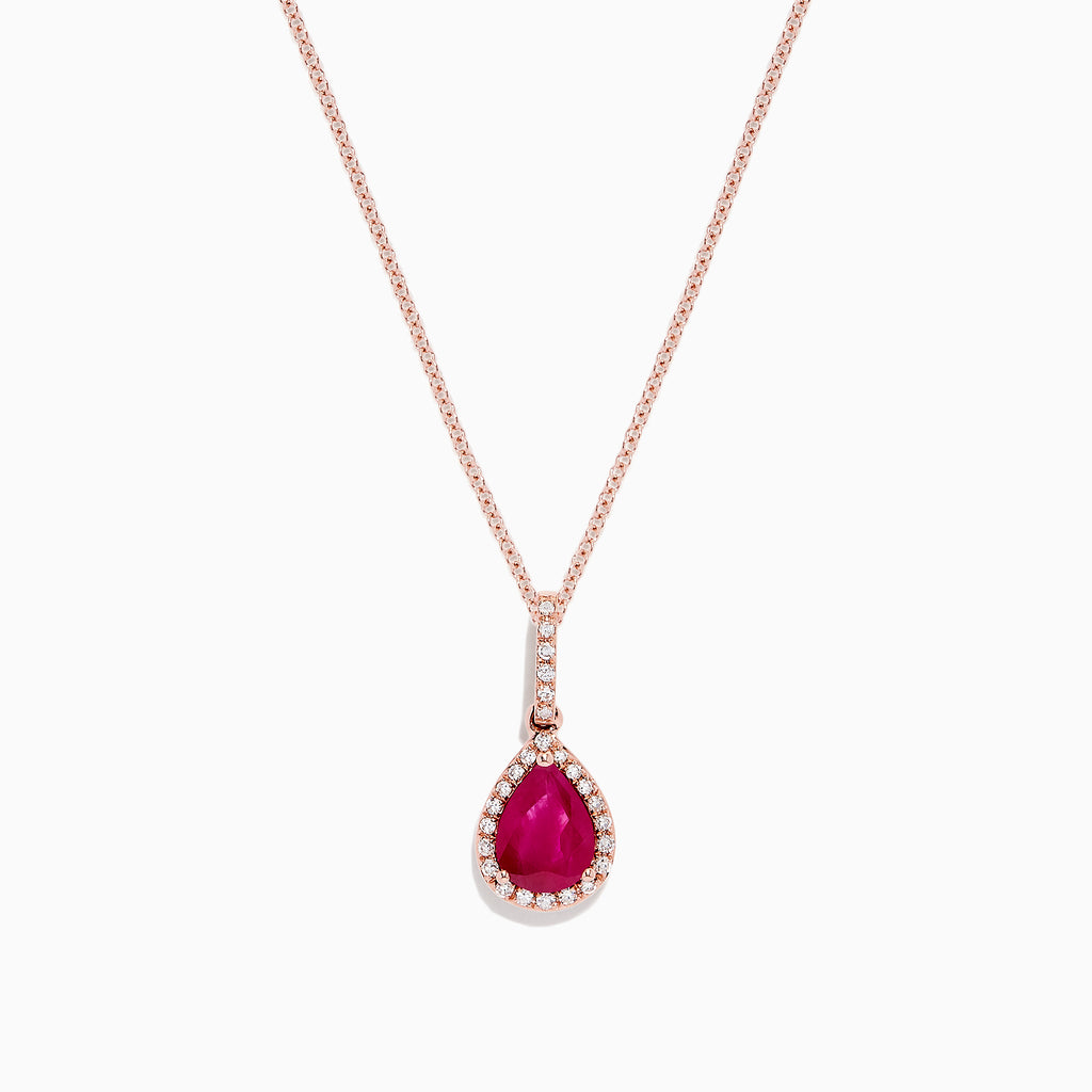 Effy Ruby Royale 14K Rose Gold Ruby and Diamond Drop Pendant, 1.07 TCW