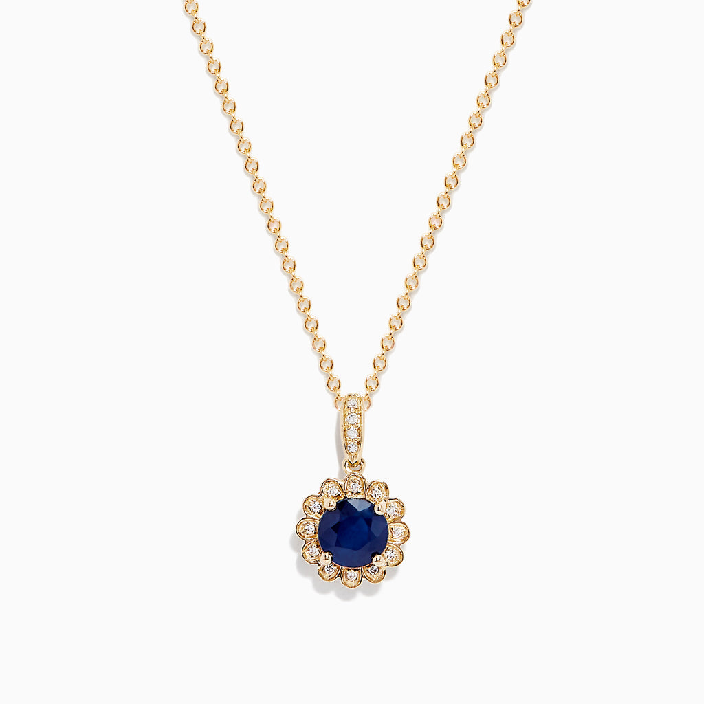 Effy Royale Bleu 14K Gold Sapphire and Diamond Flower Pendant, 1.06 TCW