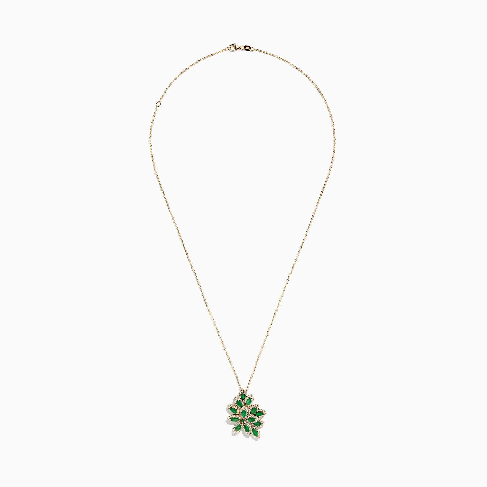 Effy Brasilica 14K Yellow Gold Emerald & Diamond Petals Pendant, 2.78 TCW