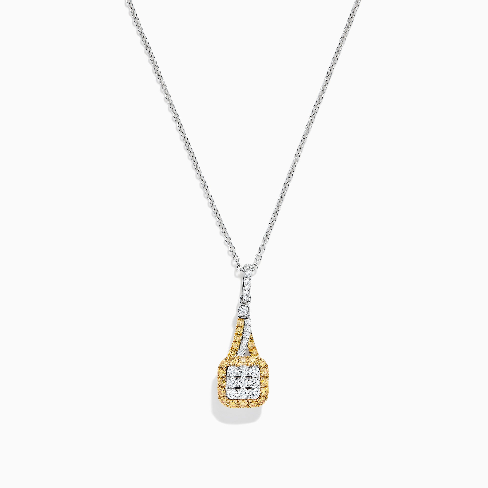 Effy 14K Two Tone Gold Yellow and White Diamond Pendant, 0.53 TCW