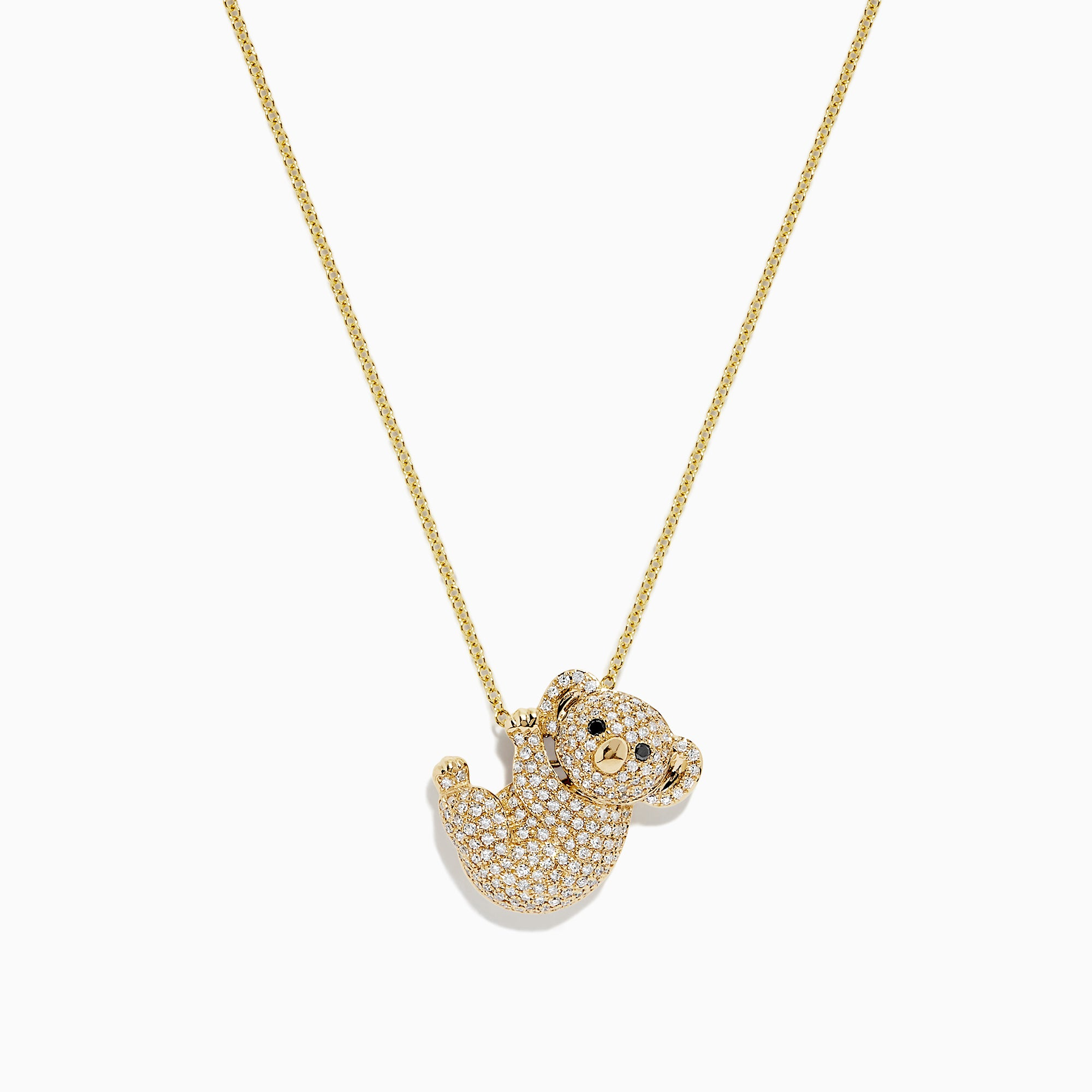 Effy 14K Yellow Gold Diamond Koala Bear Pendant, 0.67 TCW