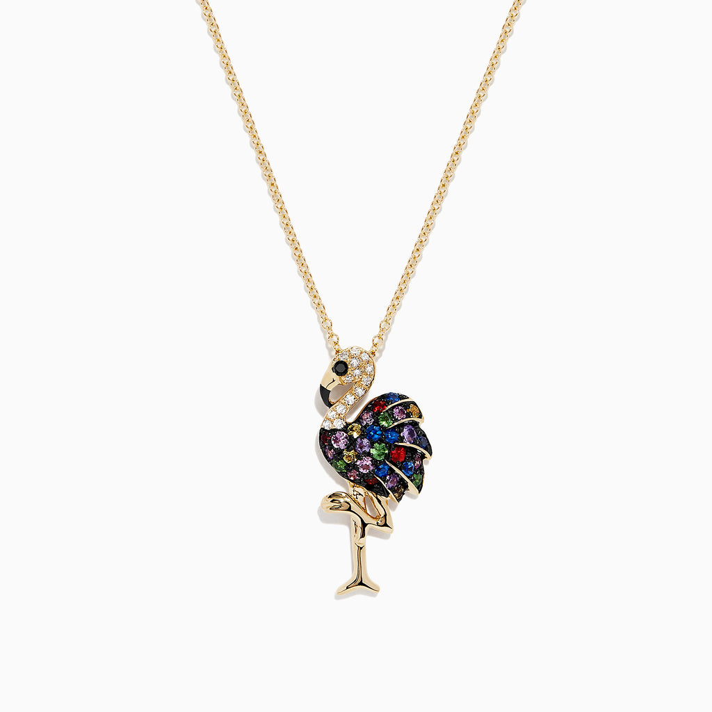Effy Watercolors 14K Gold Sapphire & Diamond Flamingo Pendant, 0.69 TCW