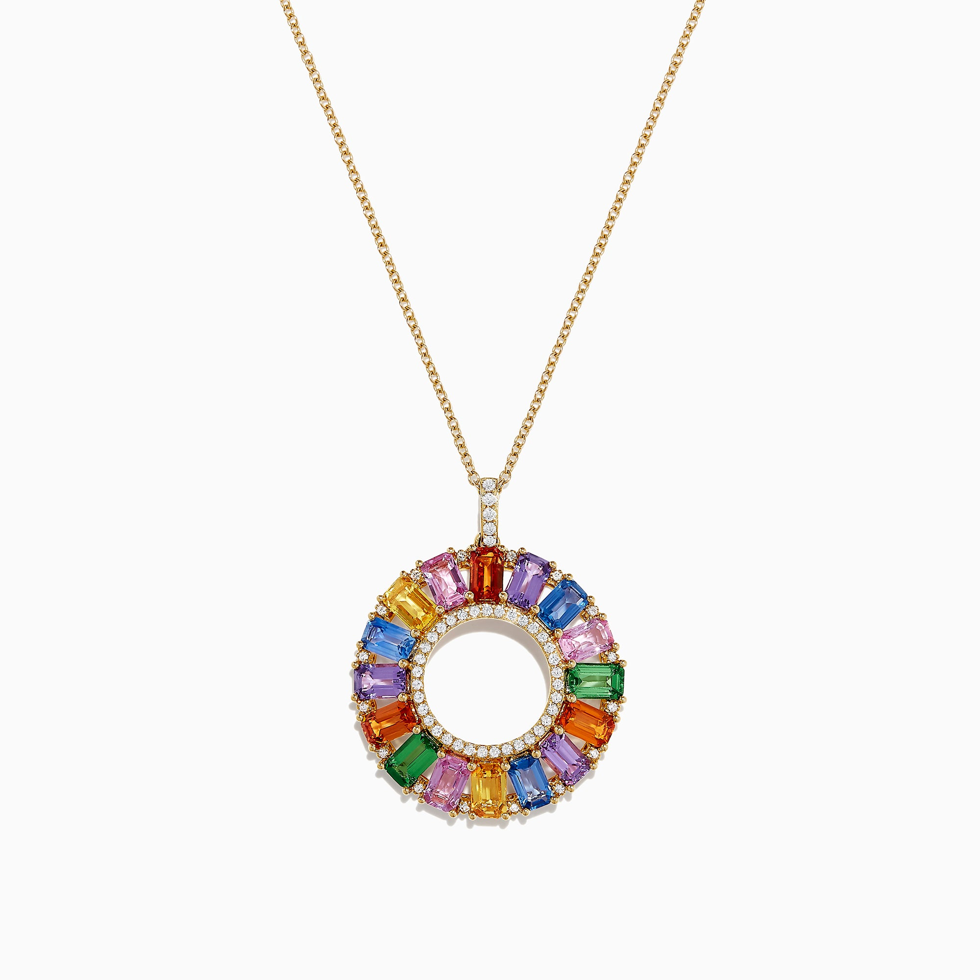 Effy Watercolors 14K Gold Multi Sapphire and Diamond Pendant, 6.39 TCW