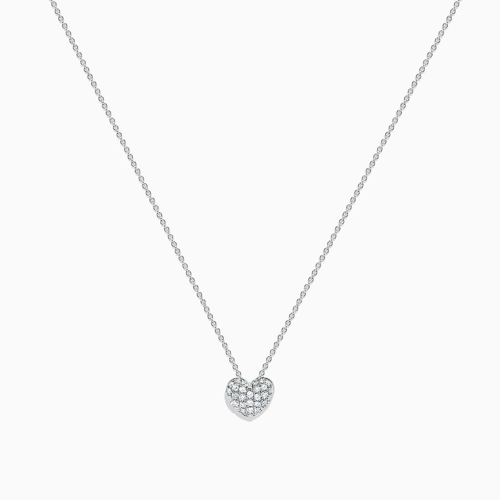 Effy Kidz 14K White Gold Diamond Pave Heart Pendant, 0.14 TCW