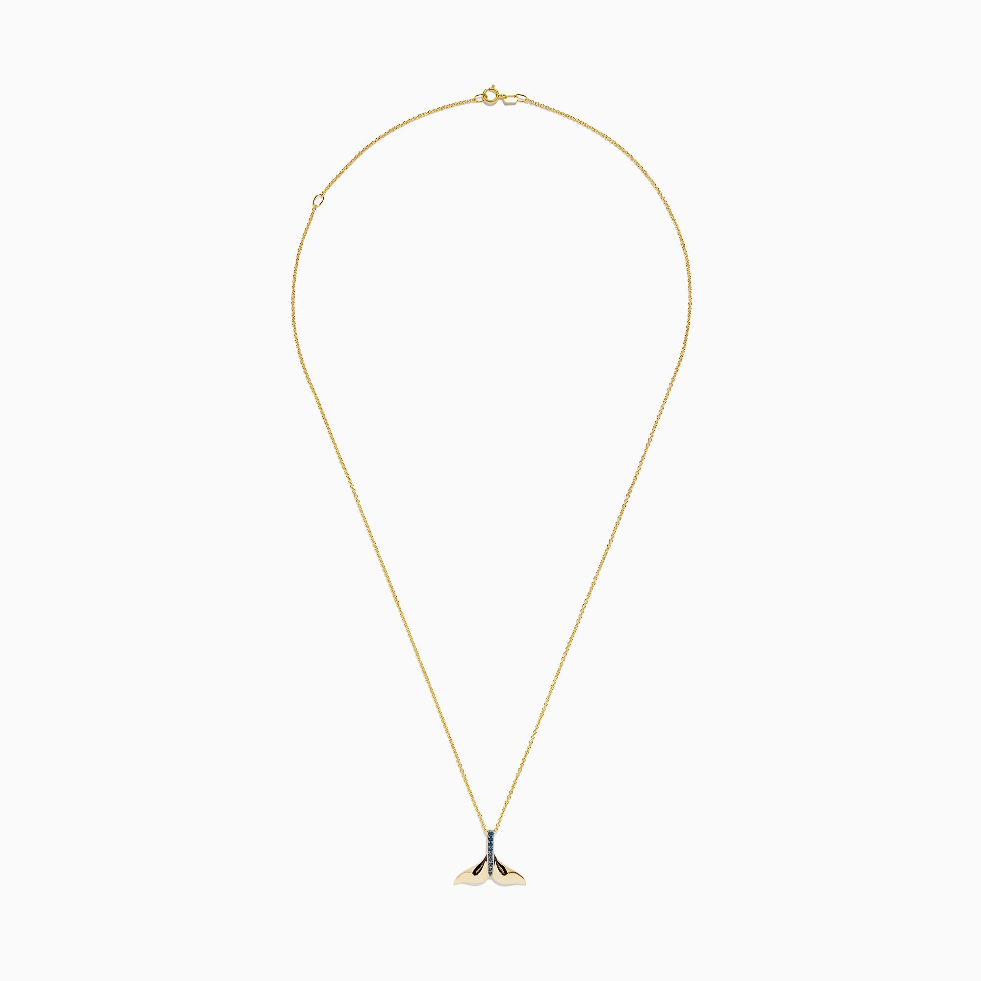 Effy Seaside 14K Yellow Gold Blue Diamond Whale's Tail Pendant, 0.05 TCW