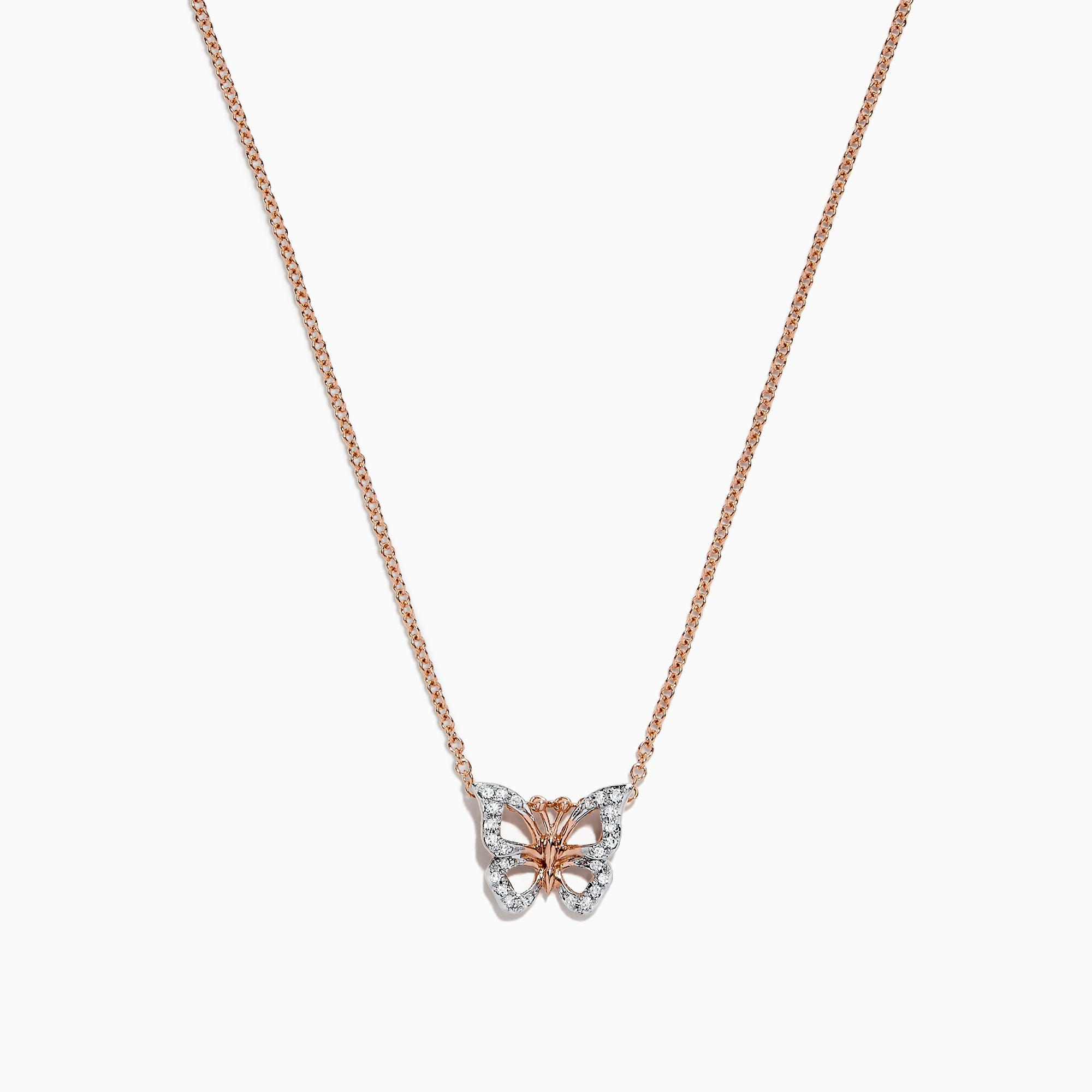 Effy Kidz 14K Two Tone Gold Diamond Butterfly Pendant, 0.08 TCW