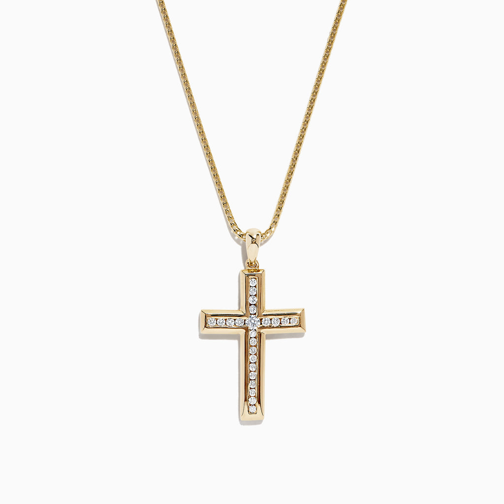 Effy D'Oro 14K Yellow Gold Diamond Cross Pendant, 0.25 TCW